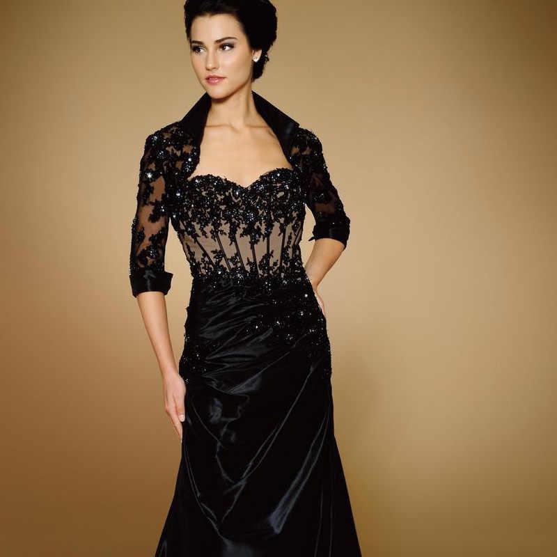 Sereia Preto Tafetá Preto Mãe Dos Vestidos de Noiva Mãe Do Noivo Custom Made Vestidos de Noite