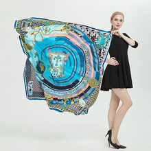 LEAYH 2019 New Fashion Oversized Silk Square Scarf Women Lady Zebra Belt/The Seasons Printed 130cm Twill Scarves Shawls