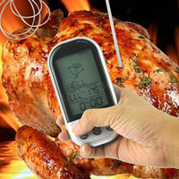 LCD Digital Wireless BBQ Thermometer With Probe And Timer Temperature Alarm For Kitchen Oven Food Cooking