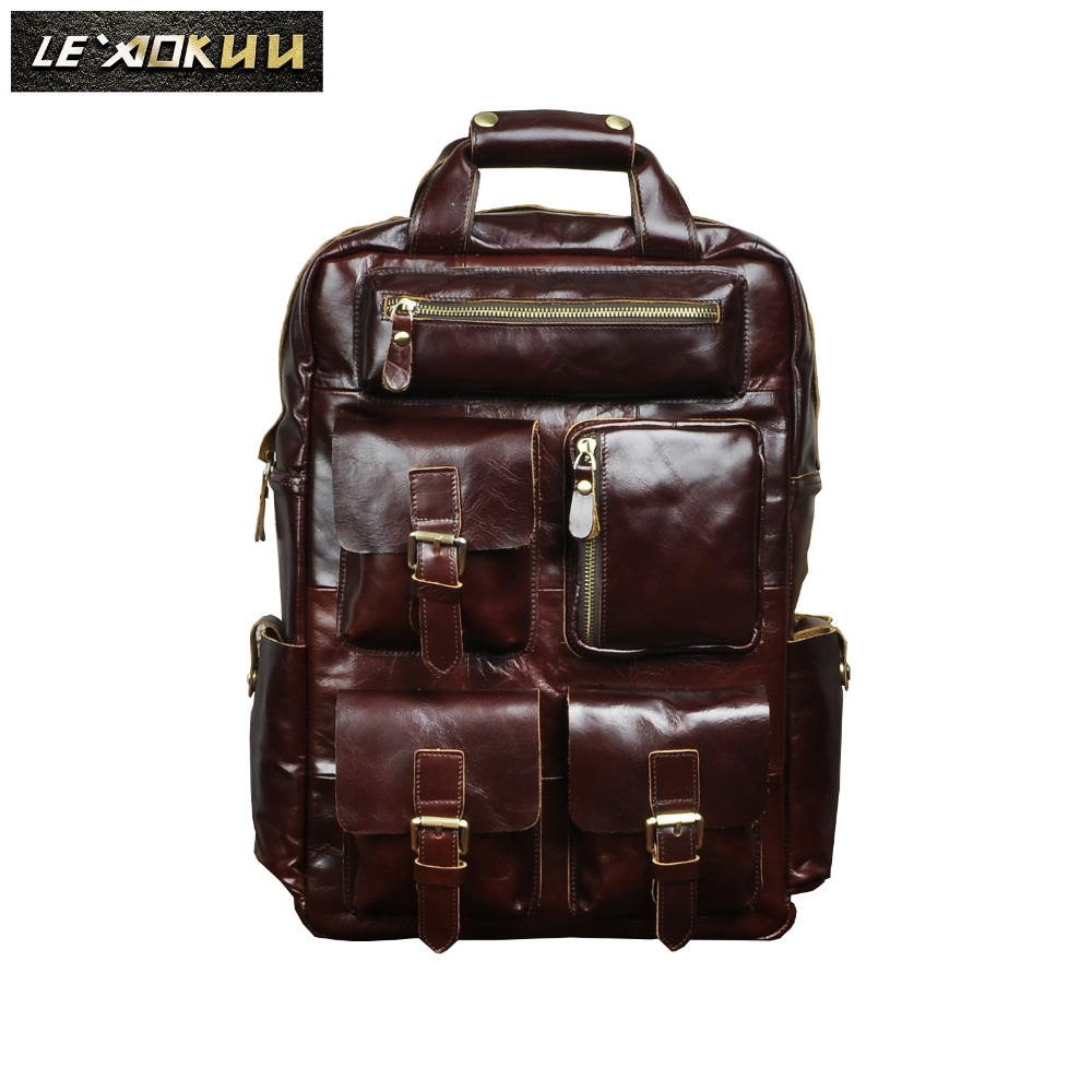 Men Genuine Leather Fashion Travel University College School Bag Designer Male Coffee Backpack Daypack Student Laptop