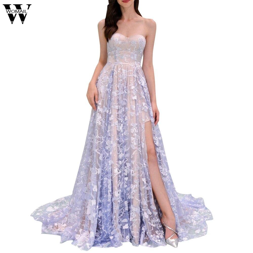 Lace Halter Wedding Gown: Women Dress Elegant Tube Top Sleeveless Lace Halter Back