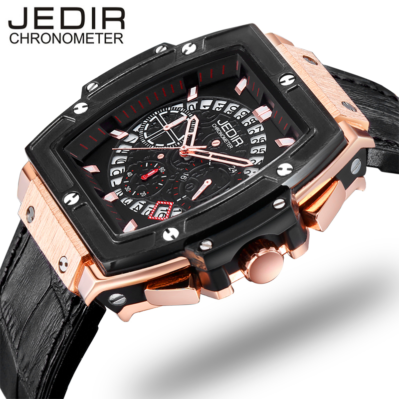 relogio masculino Mens Watches Top Brand Luxury JEDIR Chronograph Military Sport Wristwatch Men Fashion Leather Quartz Watch jedir chronograph sport mens watches top brand luxury famous male clock quartz watch military leather relogio masculino gift box