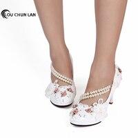 Large size 41 47 Elegant white Wedding Shoes Lace up Flower bridal Shoes High Heels Women Pumps 8cm/4.5cm/3cm Free Shipping