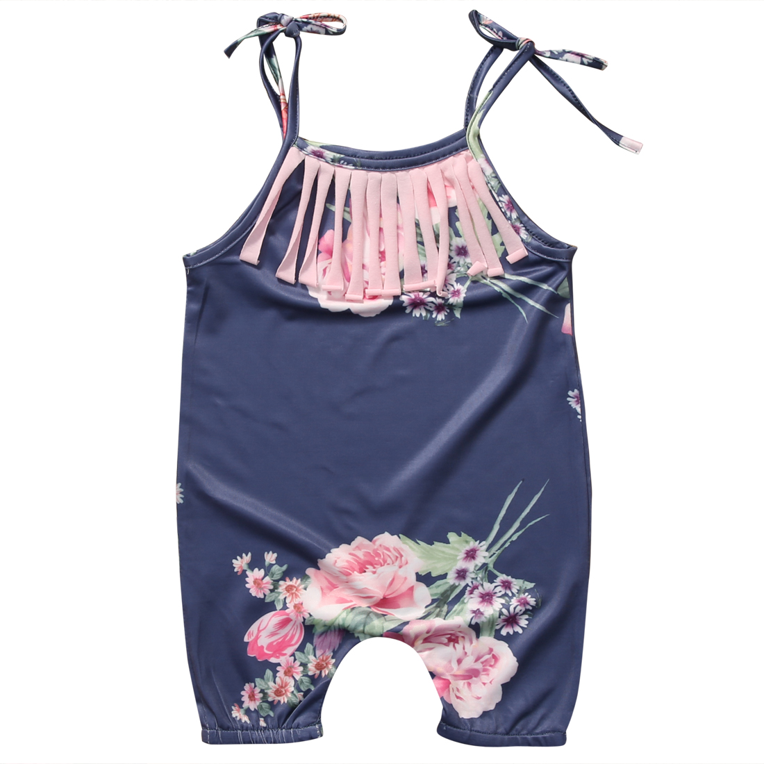Hot Unisex Dropshipping New Arrival Baby Toddler Summer Boutique Baby Vintage Floral Tassel Romper Boy Clothes Costume Overalls