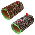 Plush Sponge Zebra,Leopard Pattern Parrot Small Pet Passageway Chinchillas Tunnel Hamster Hammock Guinea Pigs Toys Size S/L