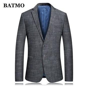 BATMO 2019 new arrival spring high quality cotton&linen casual blazers men,male suits men,casual jackets men,plus-size 6825