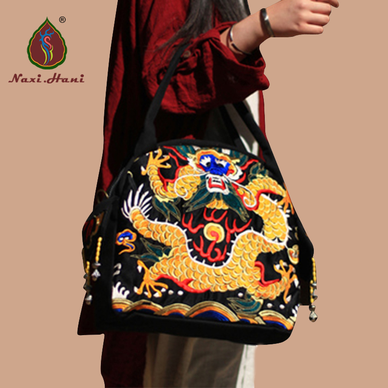 HOT SALES Ethnic embroidery canvas women bags dragon pattern shoulder messenger bags brand hot sale ethnic floral pattern pashmina for women