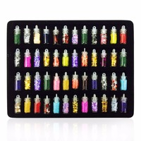 48 Bottles SET Popular Design Women Nail Beauty Nail Art Stickers DIY 3D Glitter Powder Manicure