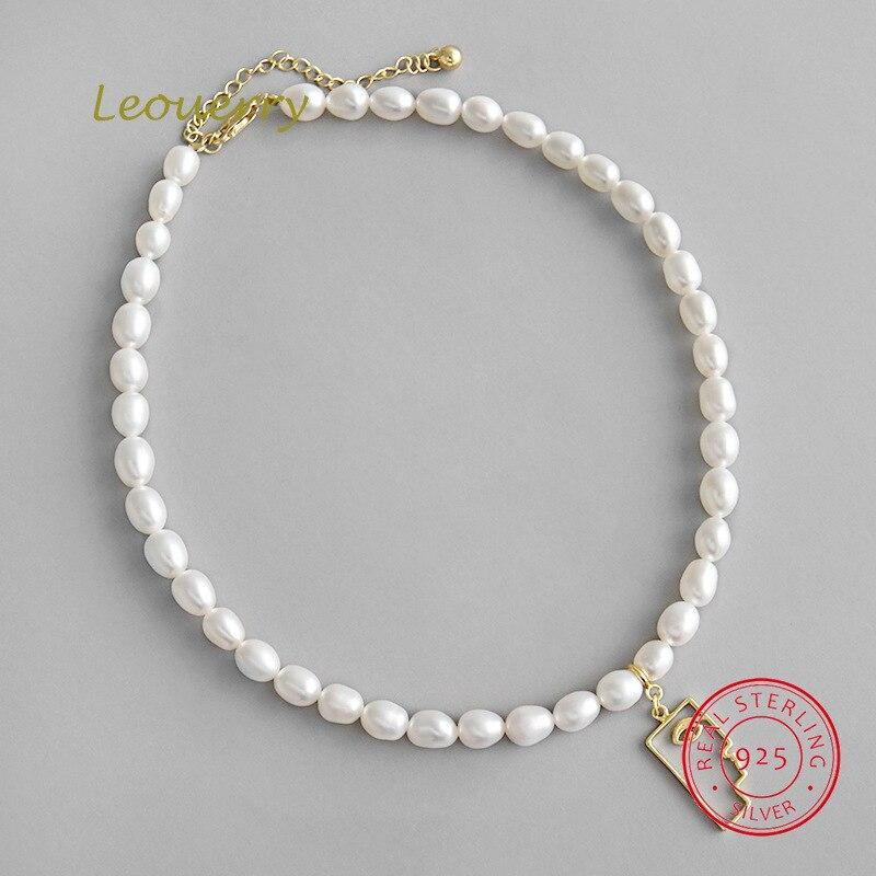 Collier de perles naturelles Leouerry S925 collier en argent Sterling collier de perles d'eau douce baroques pour femmes bijoux cadeau