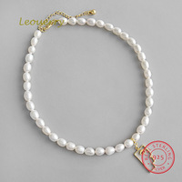 Leouerry Natural Pearl Necklace S925 Sterling Silver Necklace Baroque Freshwater Pearl Necklace for Women Jewelry Gift