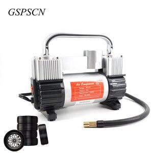 Image 4 - GSPSCN bomba inflable de doble cilindro con maleta, compresor de aire para coche, 12V, con caja de herramientas, inflador portátil de doble cilindro