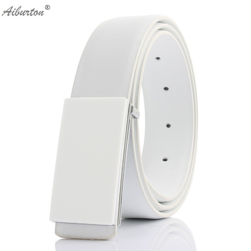 Active designer belts men high quality genuine leather smooth buckle chastity male belt black white color fashion Cheap price