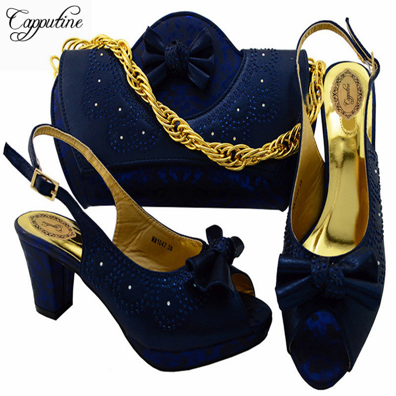 Capputine Fashion Italian Shoes With Matching Bag Set High Quality African Shoes And Bag Set For Wedding And Party MM1047 italian shoes with matching bag new design african pumps shoe heels fashion shoes and bag set to matching for party gf25