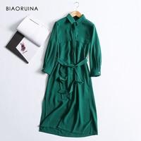 BIAORUINA Women Solid Elegant Long Shirt Dress Mid calf Length Female Casual Side Split Dress Women's Vintage A line Dress