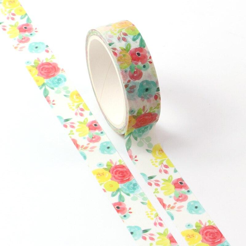 1X Washi Masking Tape Colorful Flower Paper Masking Tapes Japanese Washi Tape Diy Scrapbooking Sticker, 15mm X 5m