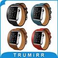 Pulseira de couro genuíno duplo turnê para 38mm 42mm iwatch apple watch band alça de pulso pulseira cinto + adaptador + chave de fenda