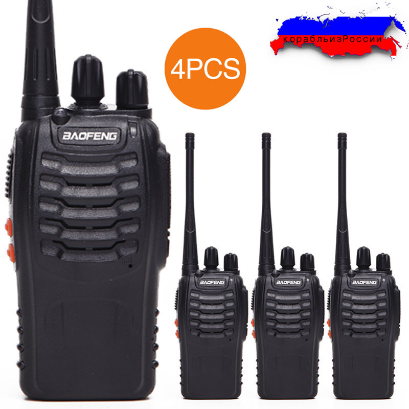 4Pcs Baofeng BF-888S Walkie Talkie UHF BF888S Two Way Radio CB Radio set 888S Comunicador Transmitter Transceiver with headset