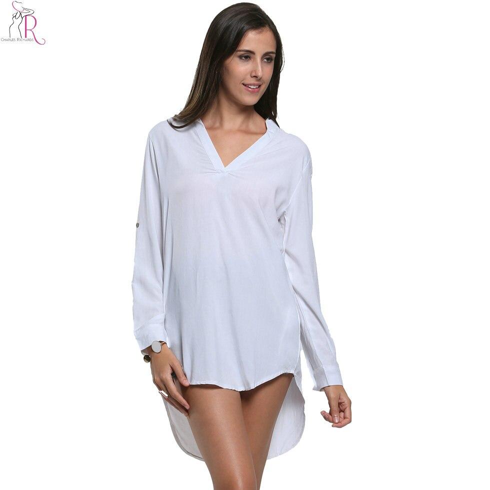 Palangre manga larga blanca camisa de la blusa alto bajo dobladillo asimétrico v