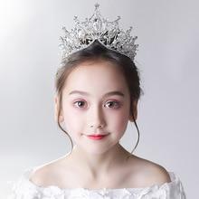 Childrens tiara princess crown crystal hair hoop snow elsa child birthday present