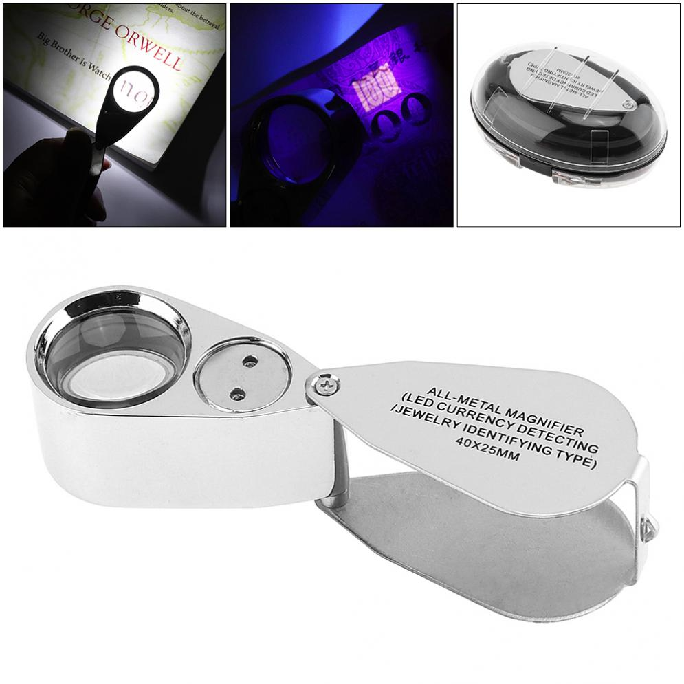 40X Metal + Acrylic Optical Lens Foldable Portable Magnifier with 2 LED Light and UV Light for Banknote Checking