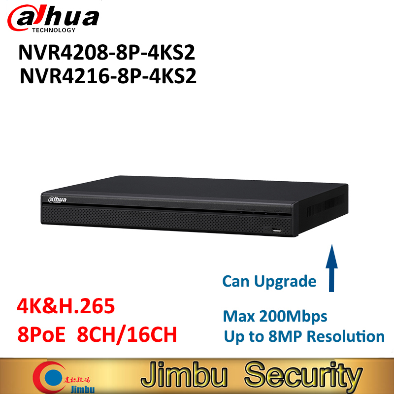 Dahua H.265 4K NVR NVR4208-8P-4KS2 NVR4216-8P-4K 8ch 16ch 8 Poe port video recorder Up to 8MP Resolution cctv security system dahua network video recoder nvr4208 8p hds2 nvr4216 16p hds2 8 16ch nvr support onvif poe nvr recorder for poe camera