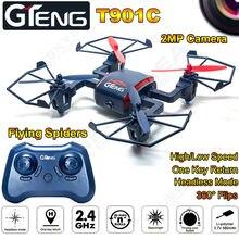 T901C RC Drone 2.4 Ghz 4CH 6 Axe Gyro 2.0 MP Caméra 3D rouleau Auto Retour Sans Tête RC Quadrocopter Hélicoptère VS MJX X600 RC DRONE