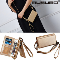 Musubo Multi function card slot Leather Flip Phone case wallet Hoop Strap clutch bag purse phone bag for iphone8 7 6s Plus