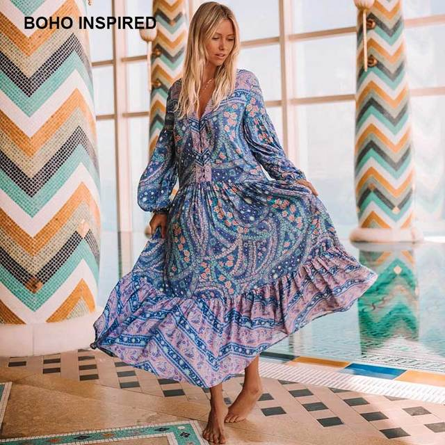 76858c024b92c US $26.39 40% OFF|bohemian inspired mixed floral print summer dress long  sleeve V neck button closure boho dresses loose maxi women vestidos 2018-in  ...