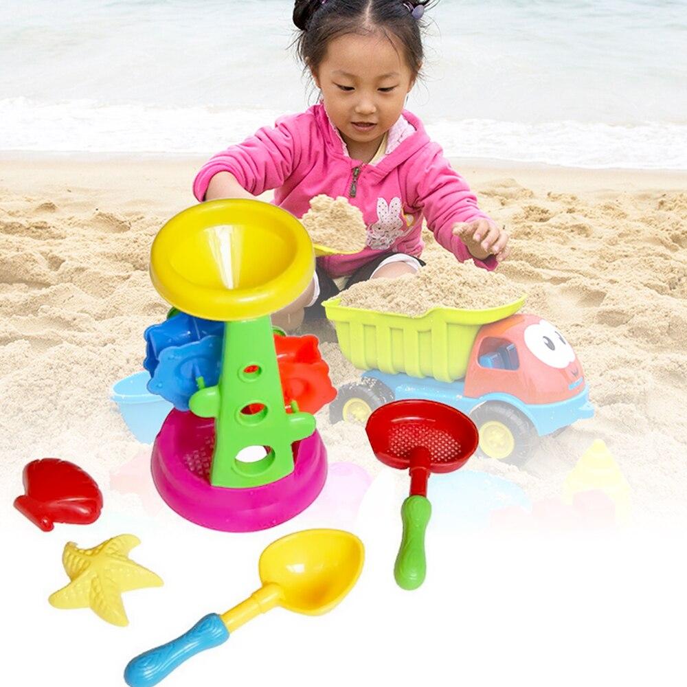 5 PCS Children Babies Kids Sand Beach Sandbeach Spoon Hourglass Shell Toys Summer Toy Water Tools Pretending Toys Play Set Gift