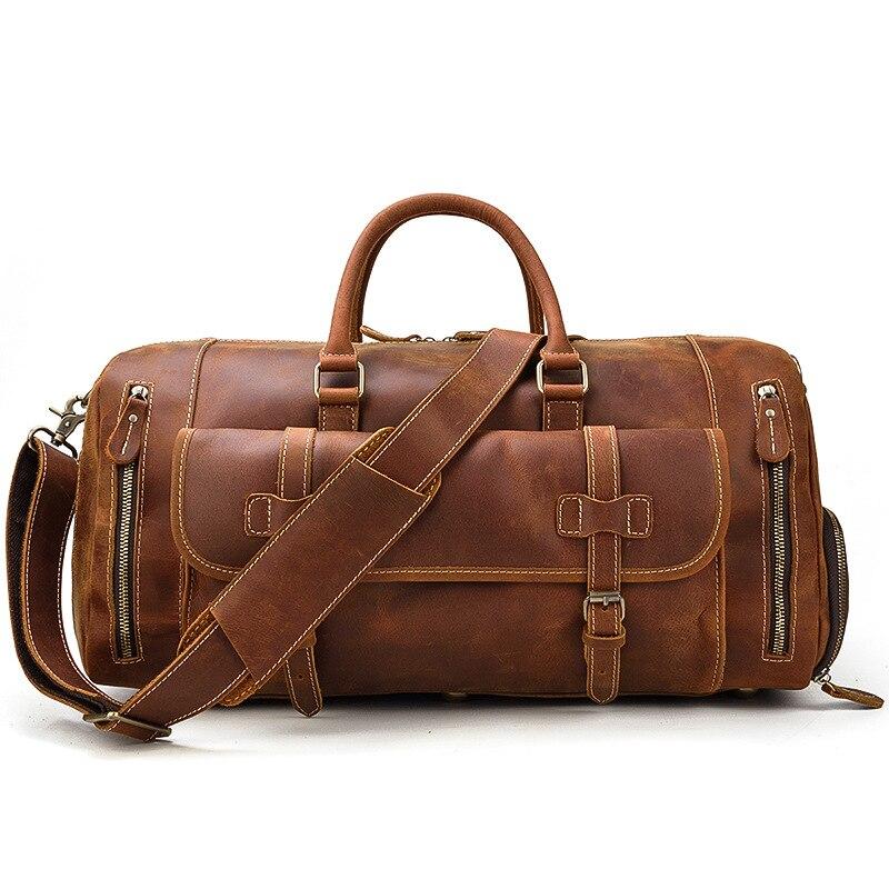 Maheu 정품 가죽 남성 여행 가방 구두 주머니 핸드 수하물 가방 어깨 스트랩과 대용량 야외 남성 더플 백-에서여행 가방부터 수화물 & 가방 의  그룹 1