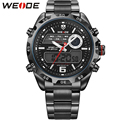WEIDE Fashion Quartz Watches Men Luxury Brand Men's Analog Digital Display Waterproof Black Stainless Steel Band Outdoor Watch