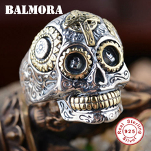 BALMORA Hot Sale 100% Real 925 Sterling Silver Vintage Rings for Men Women Lovers Fashion Cool Jewelry Skull Ring Bijoux SY20540
