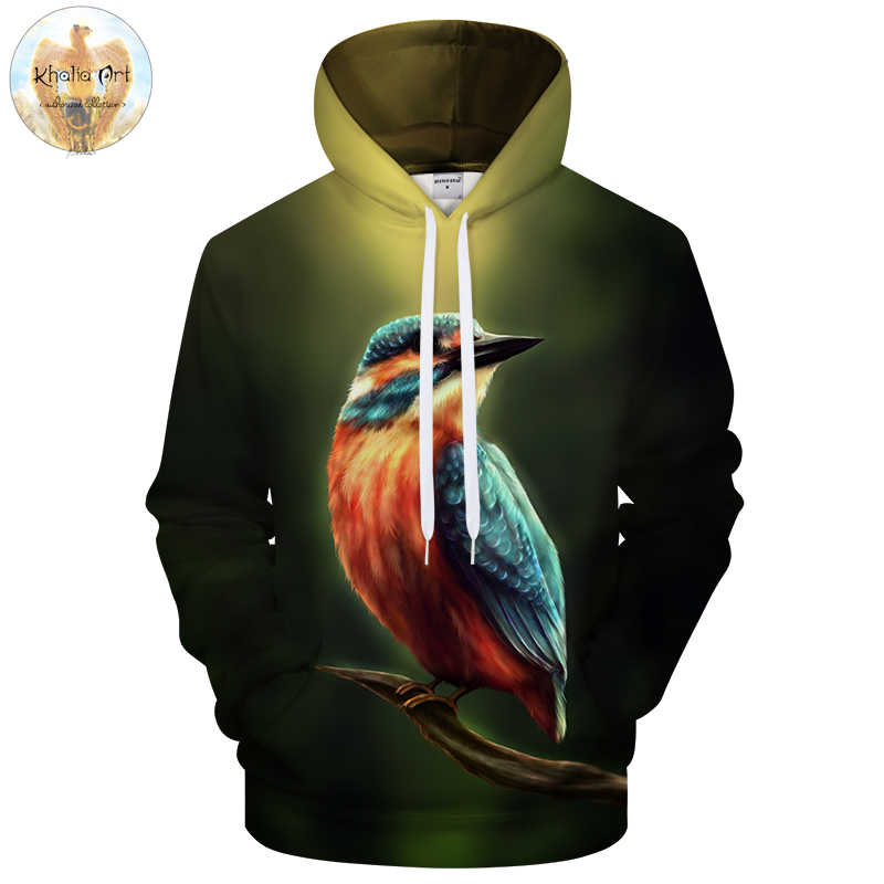 Kingfisher by KhaliaArt Men Hoodies Mens Sweatshirts 3D Hoody Pullover Tracksuits Hooded Coat Streetwear Drop Ship ZOOTOP BEAR