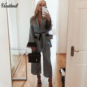 Комплект из двух предметов, Осеннее повседневное пальто с поясом и эластичными брюками, женская одежда, комплект из 2 предметов с глубоким v-...