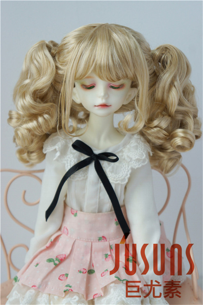 JD308 1/4 MDS Double Curly pony BJD wigs 7-8 inch Fashion MSD synthetic mohair doll wigs jd145 msd synthetic mohair doll wigs 7 8inch long curly bjd hair 1 4 doll accessories