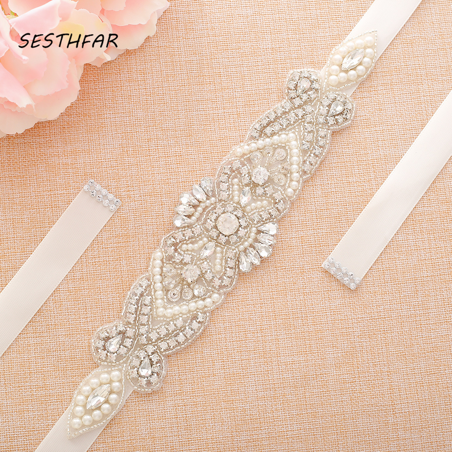 Rhinestone Belt Hand Wedding Belts Crystal Pearl Bridal Belt For Formal Evening Dress Wedding Sash J118S