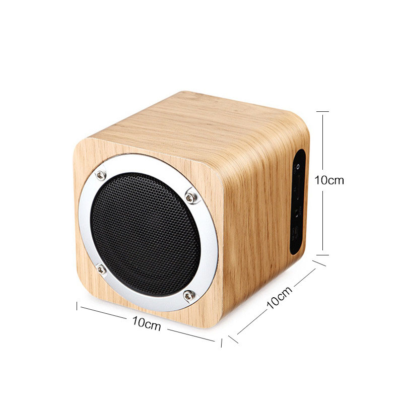 Fashion Cube Retro Wooden Bluetooth Speaker Wood Square Radio Fm