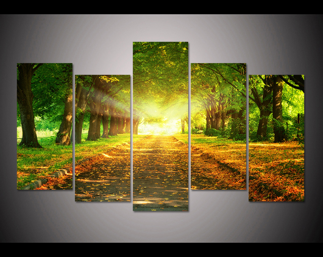 5 panel HD printed modular painting wood canvas print art modern ...