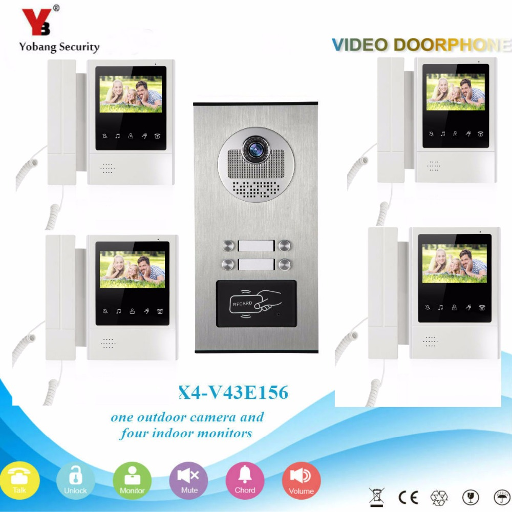 YobangSecurity 4.3 Inch Color Video Door Phone Doorbell Camera Entry Intercom System RFID Access Control For 4 Unit Apartment yobangsecurity wired 7 inch video door bell phone intercom rfid card access control home gate entry system for 2 apartment
