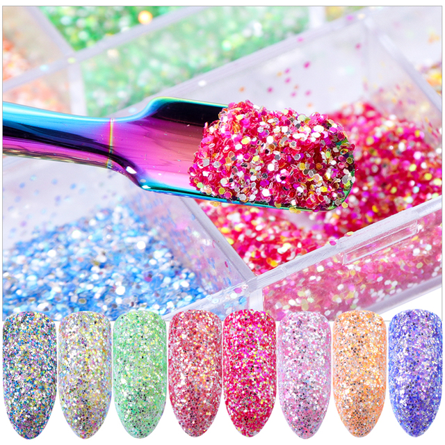 Nail Glitter Mermaid Mirror Shiny Laser Sequins Candy Neon Color Nail Sparkly Powder Pigment for Nail Art Decoration Set TRBHH