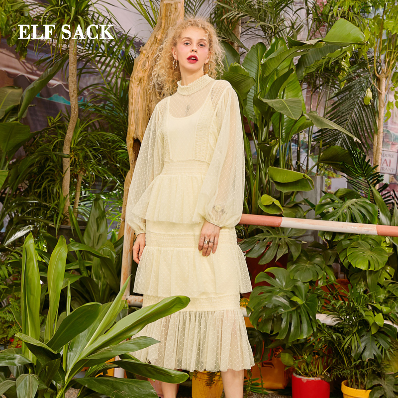 ELF SACK 2019 Spring New Elegant Dress Woman O Neck Mid Calf Solid Ladies Dresses Bohemian Lantern Sleeve Female Party Vestidos in Dresses from Women 39 s Clothing