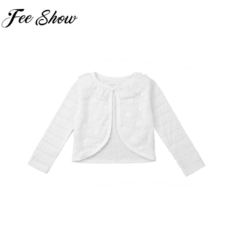 Infant Baby Girls Spring Clothe Kids Jackets Long Sleeve Lace Flower Bolero Shrug Cardigan Coats For Formal Party Dress Top