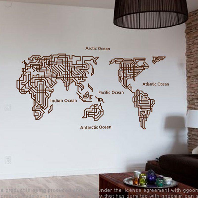 Карта мира, настенные наклейки, большой новый дизайн, лабиринт, кофейня, узор, креативная карта, Наклейки на стены, виниловые наклейки, карта