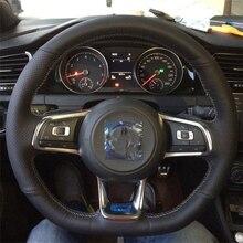 Высокое Качество натуральной Верхний Слой Кожи ручной Швейные руль крышки защищают Для Volkswagen VW Golf 7 GTI Golf R MK7