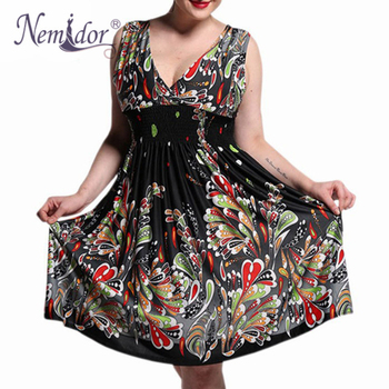 Women Casual Half Sleeve A-line Swing Dress Retro Stretchy V-neck Plus Size Midi Dress