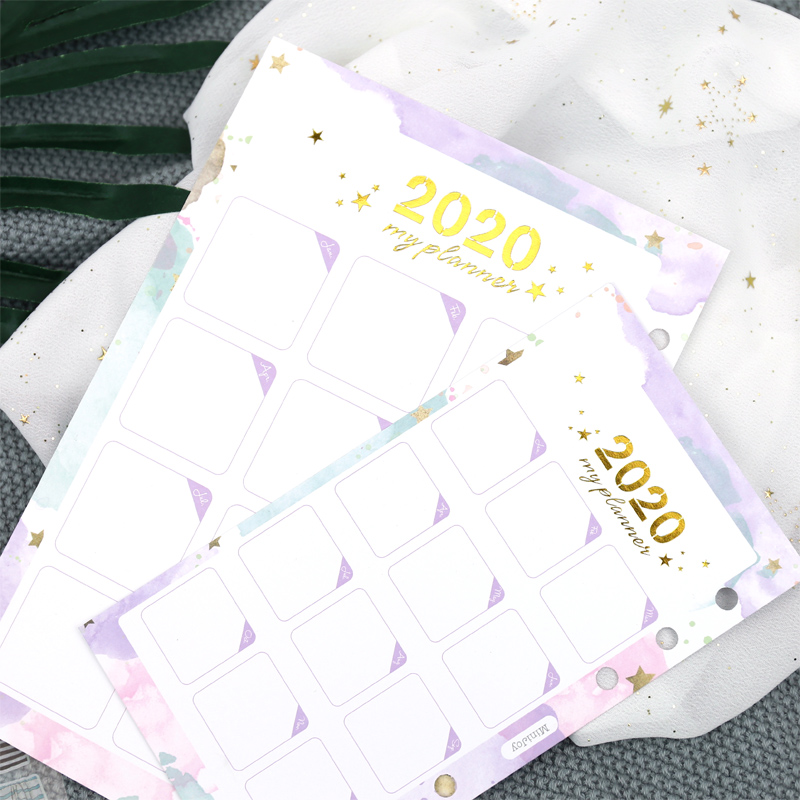 1 Sheets Yiwi 2020 Calendar Card Pages A5 A6  Watercolor Gold Hot Stamping Inner Pages For Planner Binder Notebook