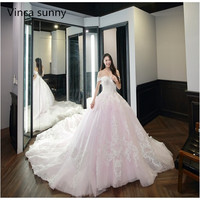 New Bridal Off Shoulder Lace Ball Gown Wedding Dress applique Tulle Sweetheart Wedding Gown 2018 Real Picture