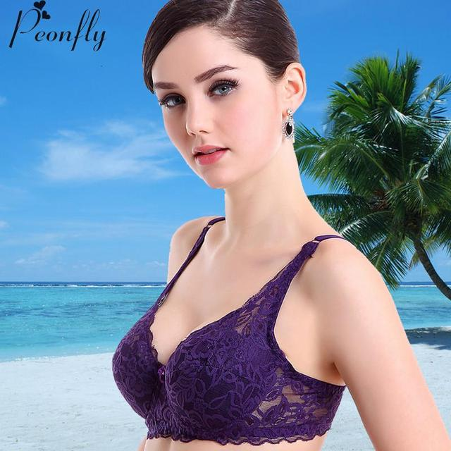 Bra Chest Sexy Lace Breathable Gather Significantly Smaller Size Bra Sponge Bra Ms Ladies Women Sexy Underwear 3/4 Cup