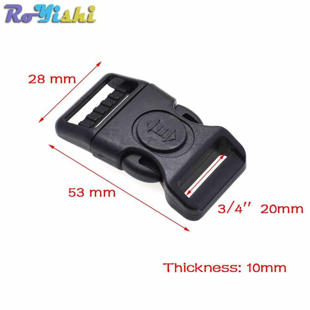 Plastic Black Gebogen Buckle w/Lock voor Paracord Armband Zijsluiting Accessoire Draagtas