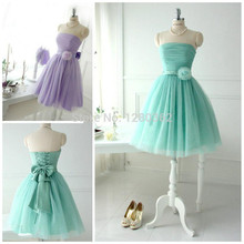 Short Lovely Mint Tulle Bridesmaid Dresses For Teens Young Girls 2015 Chic Flower Bow Sash Lace up Strapless Bridal Party Beach